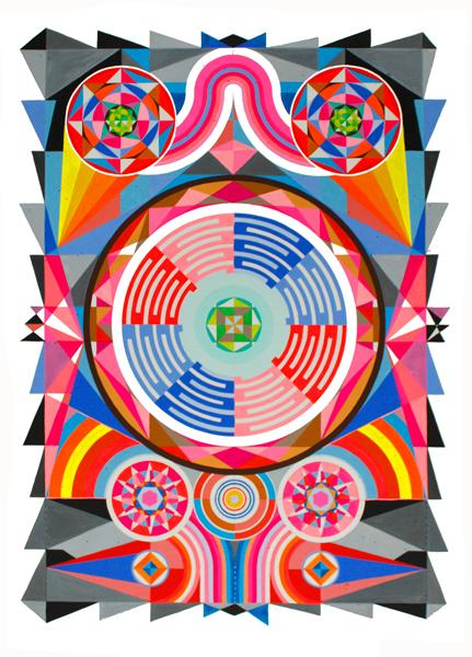 The Fourier transform, 2014<br> Gouache on paper<br> 60 x 80cm