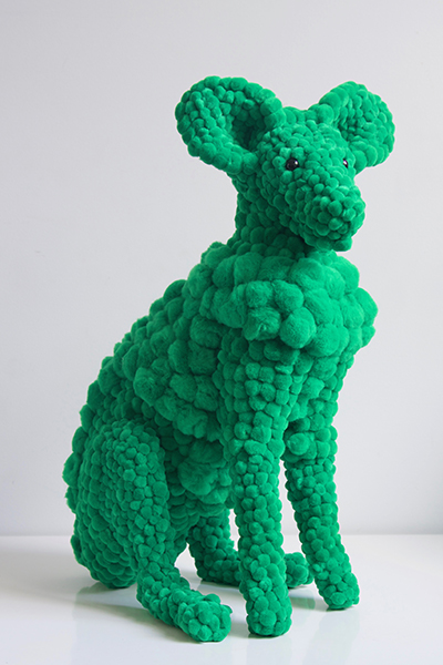 green plant eater, 2017<br>polyurethane, polyester pompoms, glue, glass eyes, plastic ear liners, 52 x 35 x 27 cm