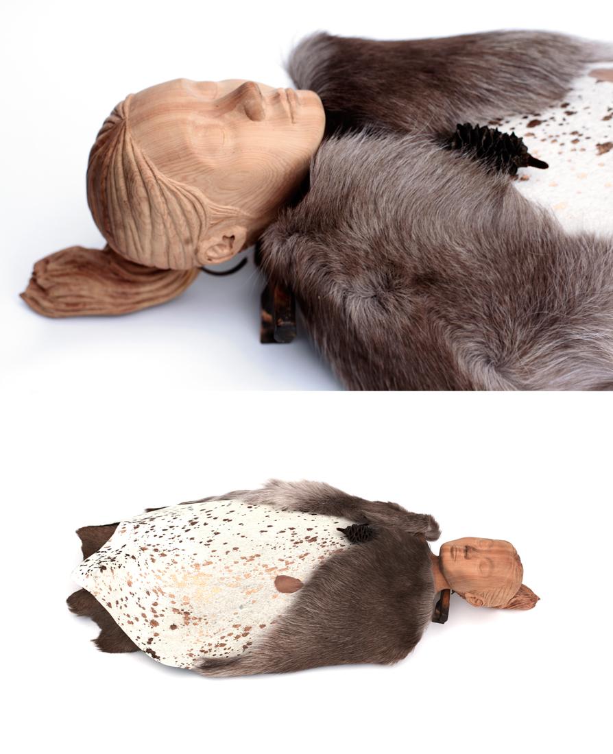 'Seeker 4 (Rena)' 2016<br>woodcarving (Matai), fur, leather, 105 x 35 x 20 cm