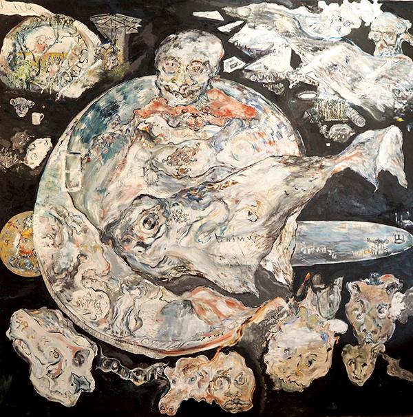 Adam Boyd, Tabletop, 2017<br>oil, graphite on linen, 200 x 200 cm