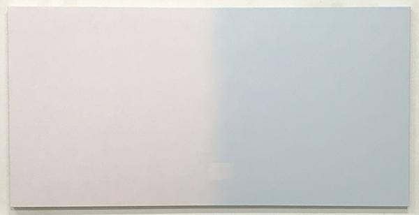 Rosslynd Piggott, Edge - cherry blossom and 5am - windwo, 2016<br>oil on linen, 75 x 150 cm