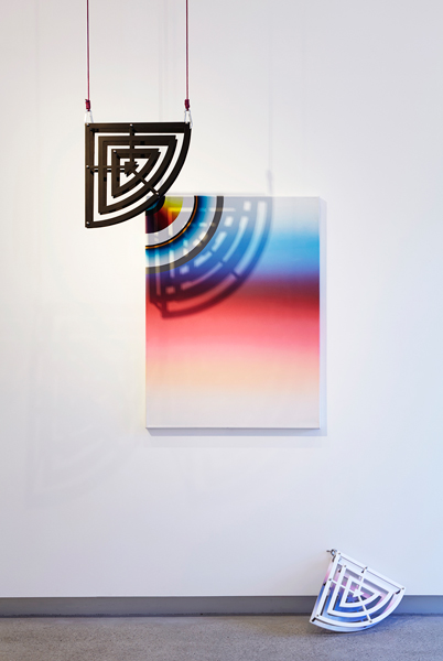 11. untitled (shadow series), acrylic and oil on canvas and MDF, stainless steel, rope, painting: 122 x 90 cm, installation dimensions variable (triptych), 2015