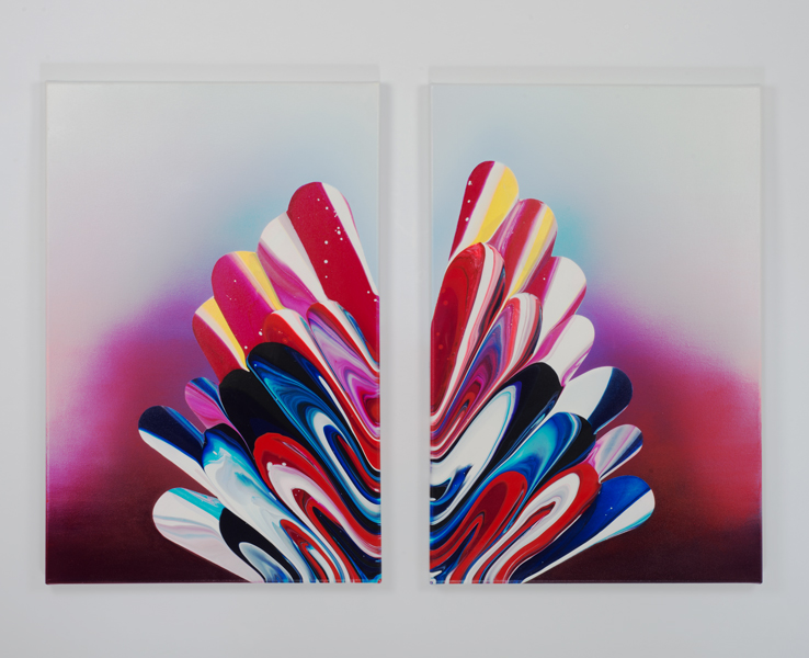16. untitled, acrylic and oil on canvas, 132 x 91 cm (diptych), 2015