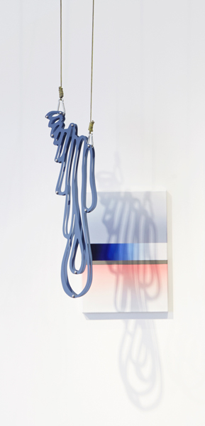 SOLD 3. 'shadow drip 1', acrylic and oil on canvas and MDF, stainless steel, rope, painting: 70 x 51 cm, installation dimensions variable, (diptych), 2015