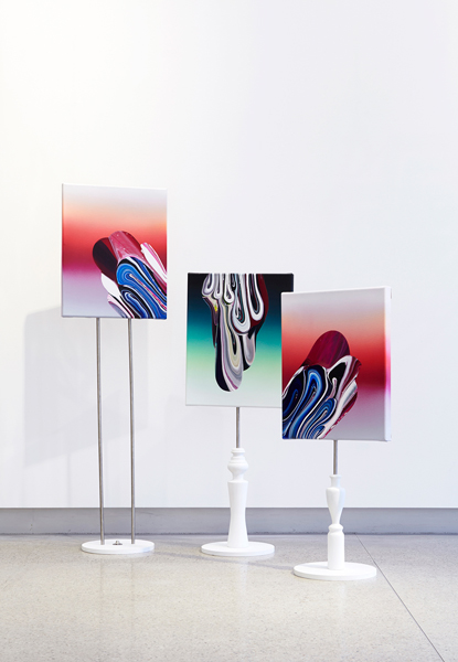 7. 'the bel remix set', acrylic and oil on canvas and turned wood & metal fixings, 51 x 41 cm each painting, installation dimensions variable (triptych), 2015