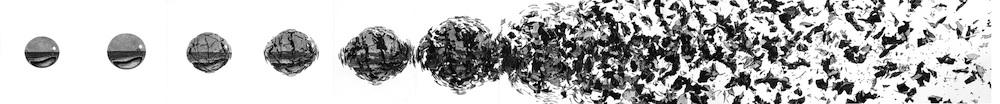 Simon Finn, Disorganise, 2014, charcoal on paper, 20 cm x 350 cm