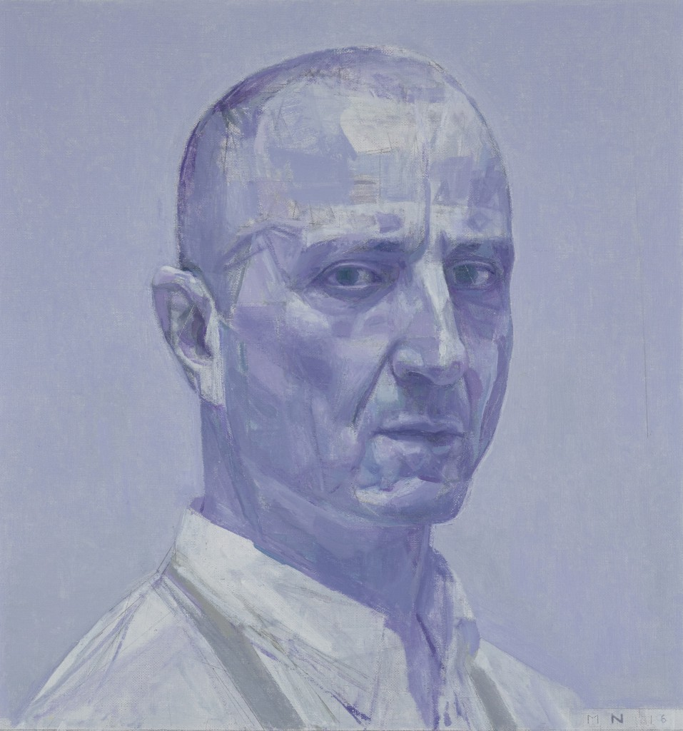 Nick Mourtzakis Self-portrait: in violet oil on linen 43 x 40.5 cm