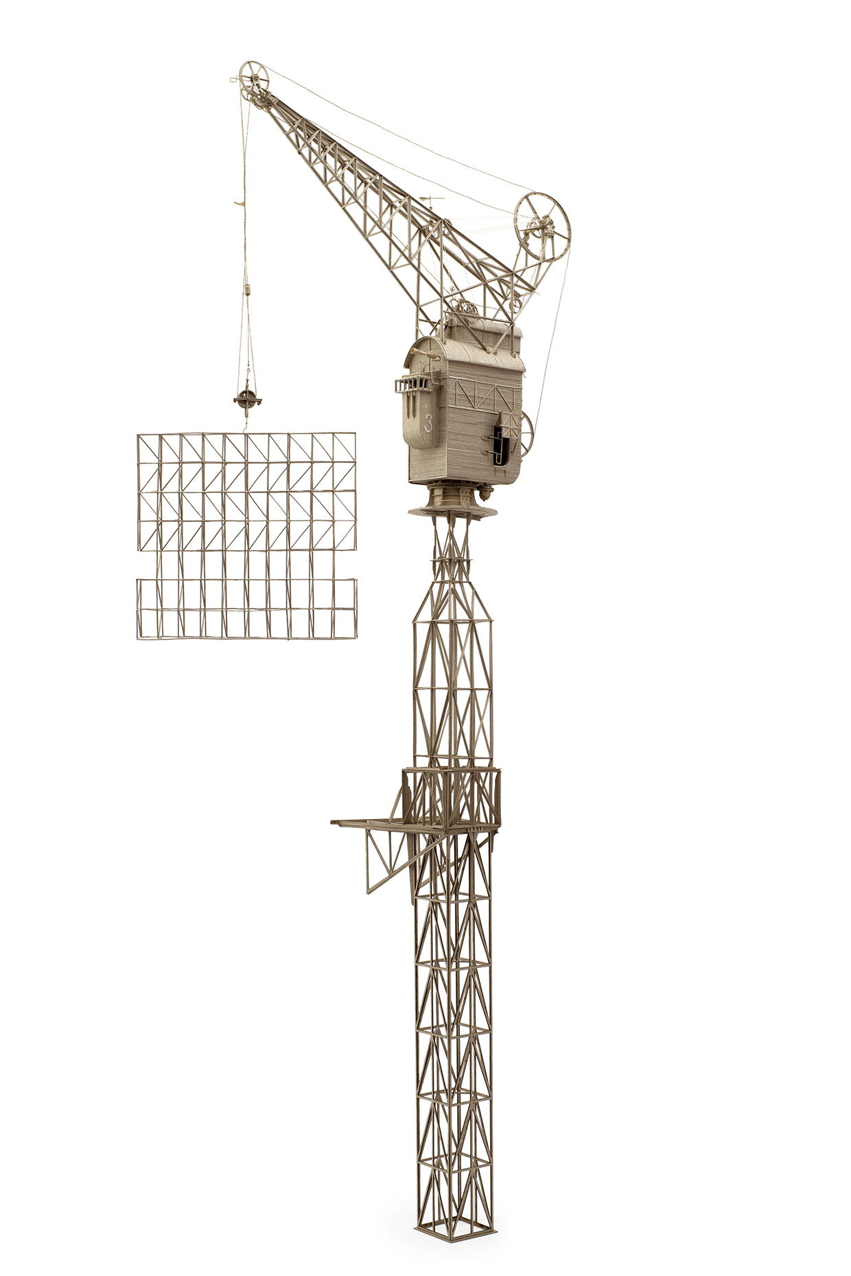 DanielAgdag, The Crane, 2019 <br/> Cardboard and trace paper, Variable dimensions