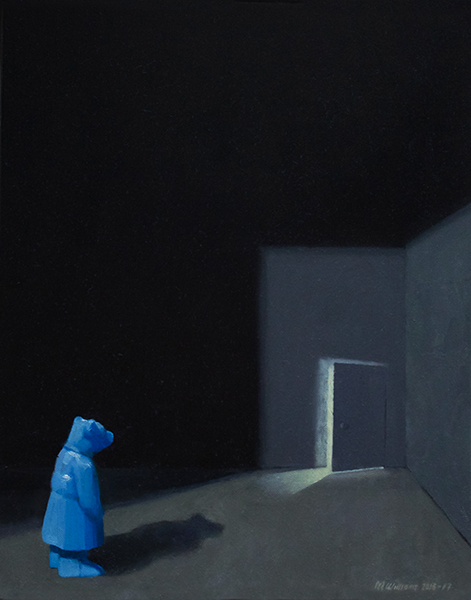 Still life with doorway, 2016-17<br/>oil on canvas, 50.5 x 40 cm
