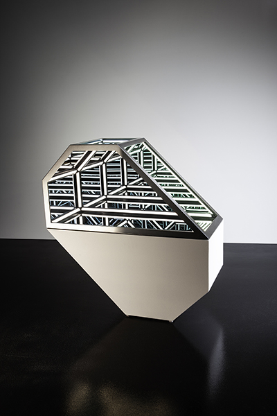 Jason Sims, Dual VI, 2019<br/>wood, reflective glass, mirror, stainless steel, MDF and LED lighting, 87 x 86 x 36.5 cm