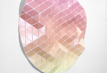 Tom Borgas, No Cloud (Dawn), 2019, aluminium, fixings, inkjet printed polyproylene, 109 x 108 x 9 cm