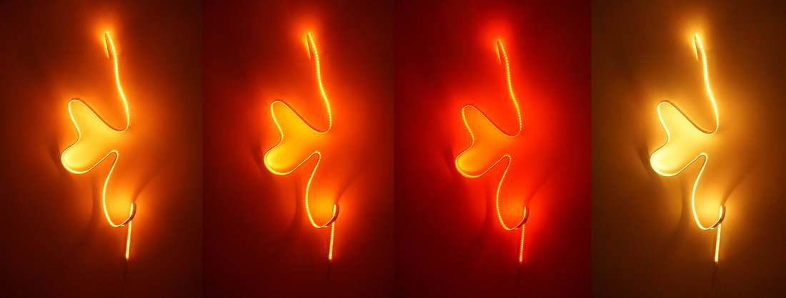 'Rise', 2016<br/>Aluminium structure, LEDs, nano computing, 123 x 40 x 15 cm