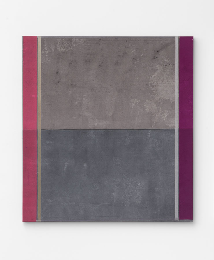 'Duo–Plexes – part 2 [Black]', 2015<br/>Acrylic staining, pigments, glitter, pencil and holographic paint on canvas<br/>137 x 126 x 5 cm