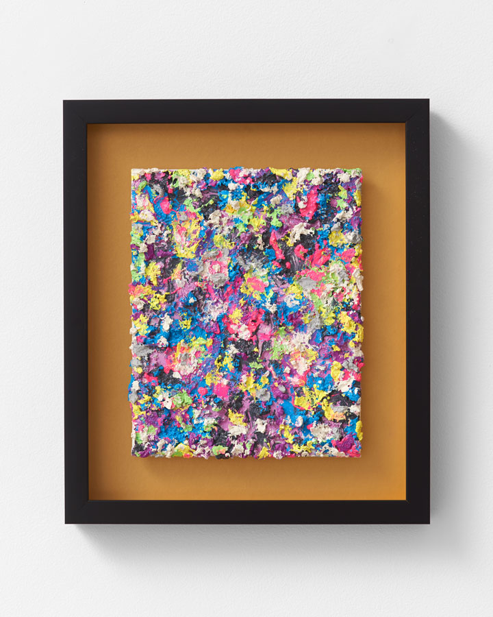 'Bubble Gum Impasto [Chromaplasticity]', 2015<br/>Oil paint, binders in black and gold artists' frame<br/>44 x 38 x 5cm