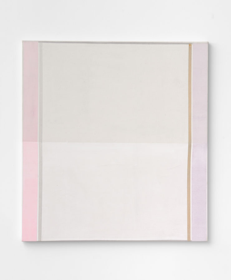 'Duo–Plexes – part 1 [White]', 2015<br/>Acrylic staining, pigments, glitter, pencil and holographic paint on canvas<br/>137 x 126 x 5 cm