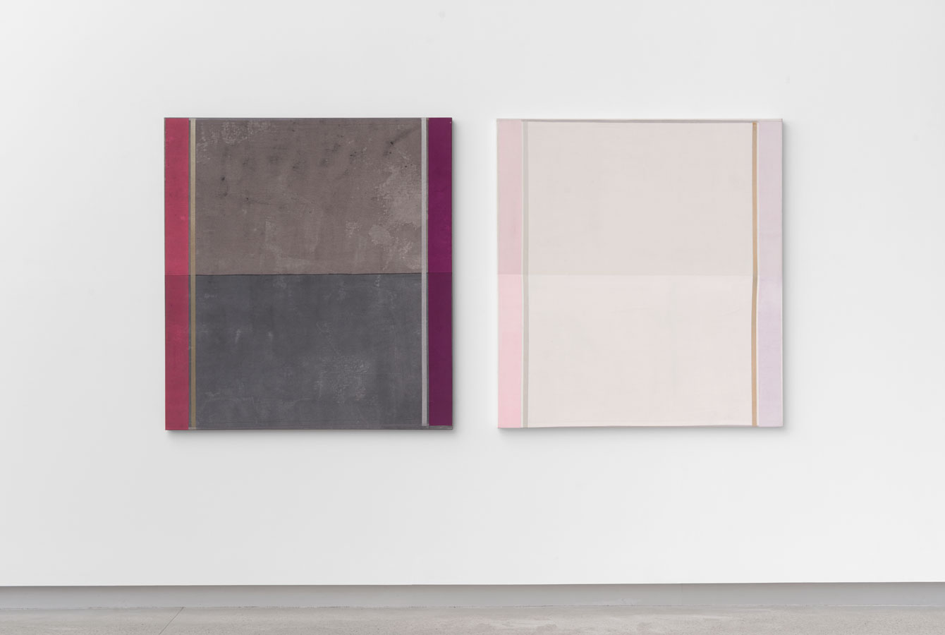'Duo–Plexes' (diptych), 2015<br/>Acrylic staining, pigments, glitter, pencil and holographic paint on canvas<br/>137 x 126 x 5 cm each panel