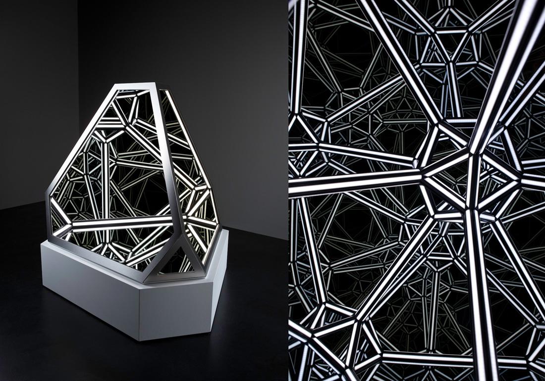 'Nexus III', 2016<br/>Steel, acrylic, mirror, plywood, MDF and LED lighting, 93 x 93 x 81.5 cm