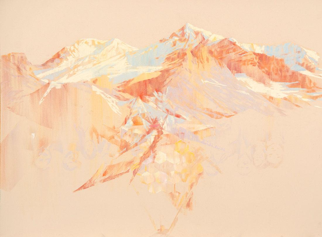 1. 'Home on the test range', 2016 <br /> pastel on archival paper, 71 x 89 cm framed