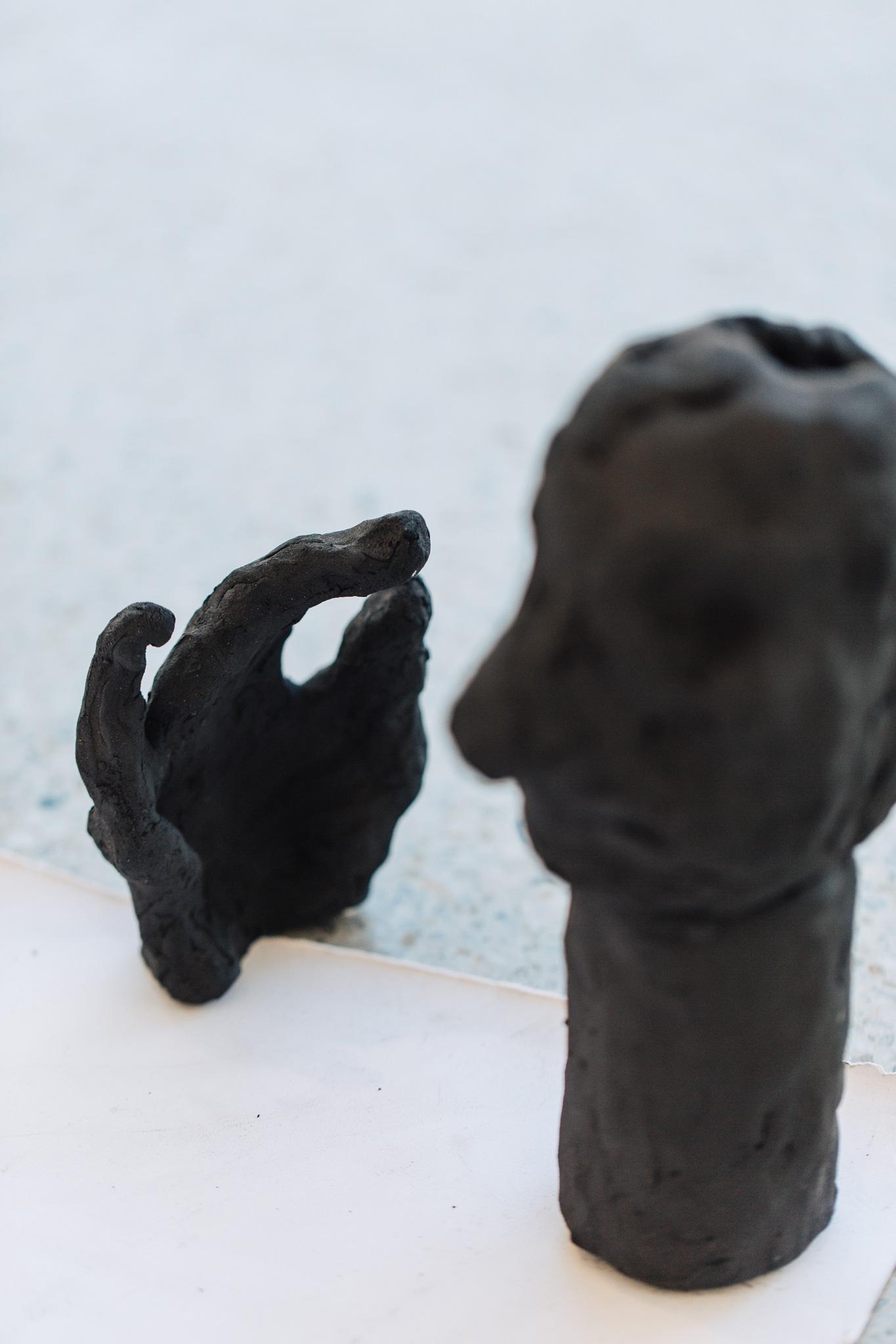 'A bunch of fives', 2016<br>English black earthstone clay, 11 x 15 x 5cm