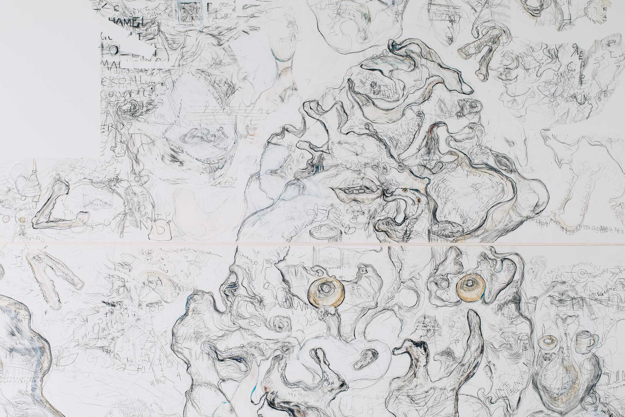 'Weasel Watch', 2016<br>Pencil, ink, acrylic, tea on Fabriano paper, 300 x 280cm