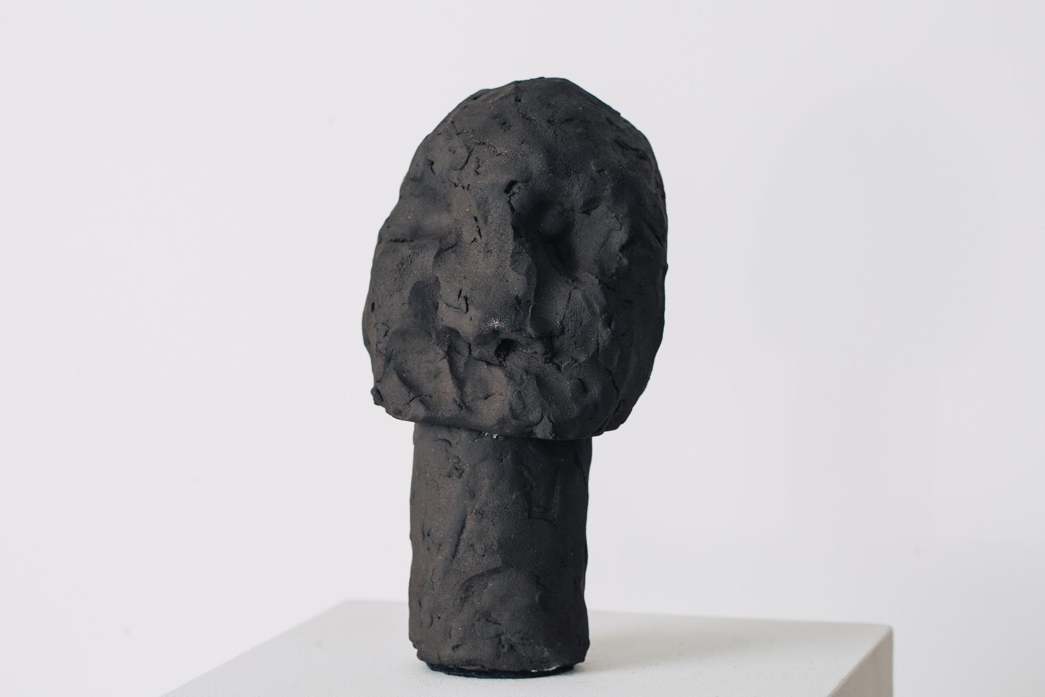 'Golem II', 2016<br>English black earthstone clay, 20 x 7 cm