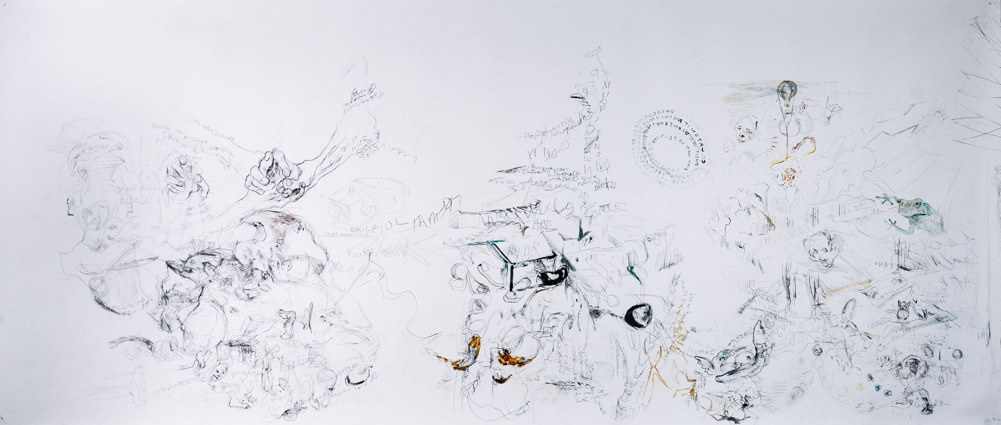 'Thumb Wars', 2016<br>Pencil, ink, watercolour, acrylic, tea on Fabriano paper, 150 x 364cm