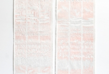 'Line Transect Red (Bellbird Waterhole)'  Diptych, plant blind embossing, graphite, ink & pigment on rag paper, 111 x 36 cm each panel, 2014