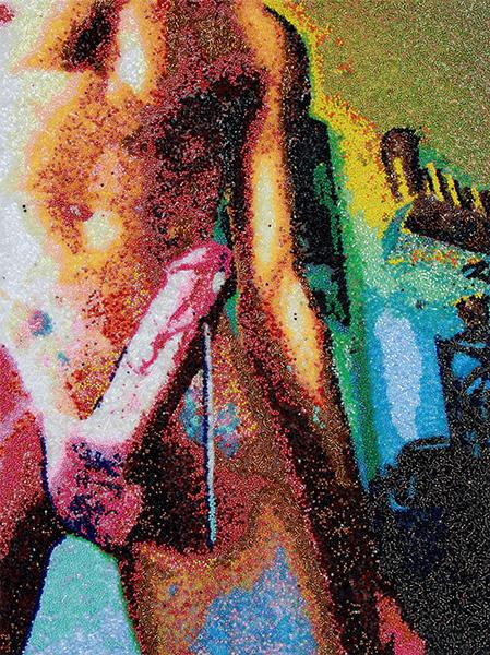 Untitled(1840921587.jpeg), 2018<br/>beads, acrylic, vanish on di-bond panel with wooden subframe, 60 x 45 cm