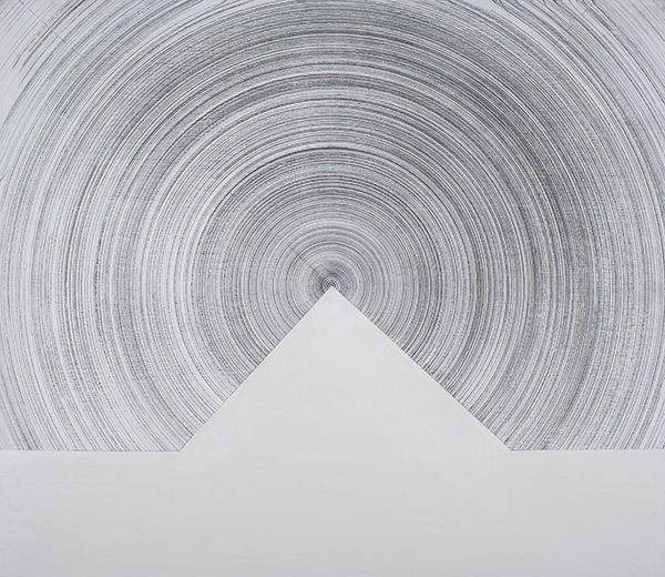 Hobart 42.88 - 47.12 deg (Sternenachse Series), 2016<br/>Acrylic paint and graphite on board, 60 x 70 cm