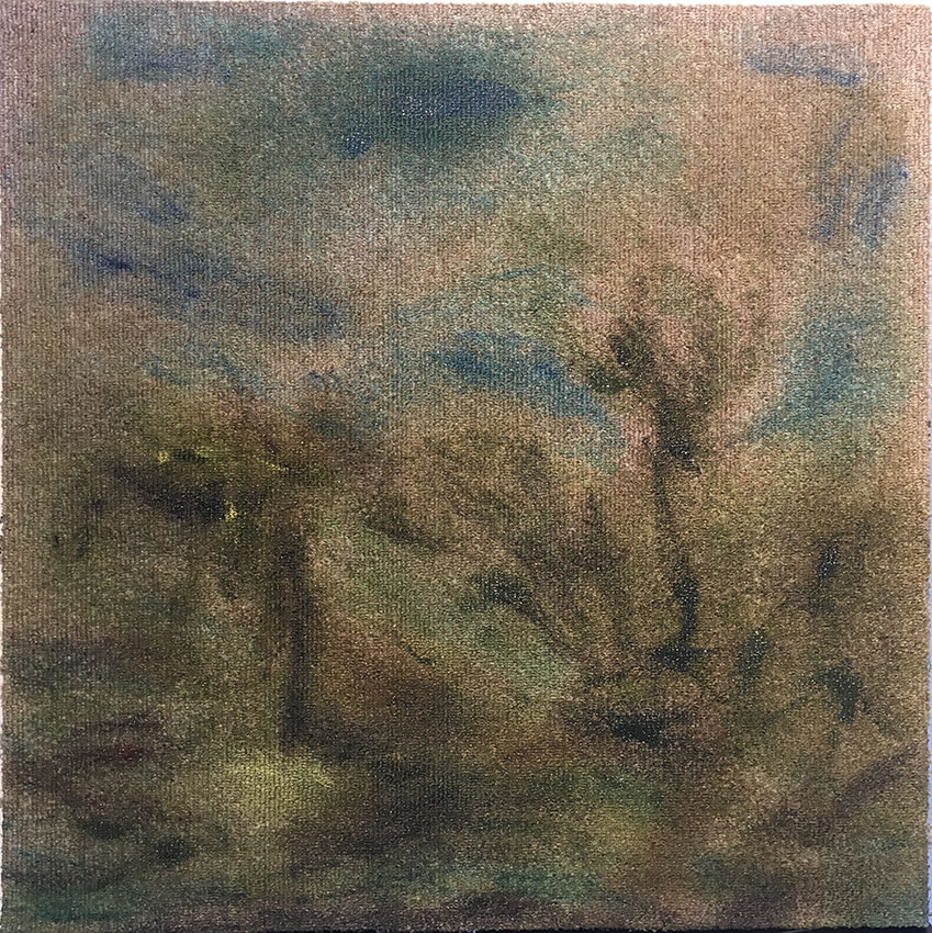 4. 20 july: 3.38 pm, 2019<br/>oil on carpet, music stand, 50 x 50 cm