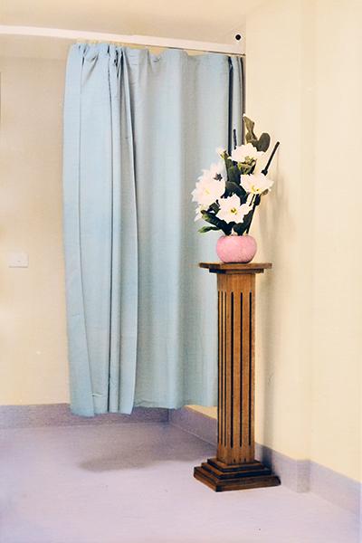 The Flowers (Morgue), 2018<br/>hand-painted silver gelatin print, DiBond, aluminium frame, 23 x 15 cm, edition of 1 + 1A/P