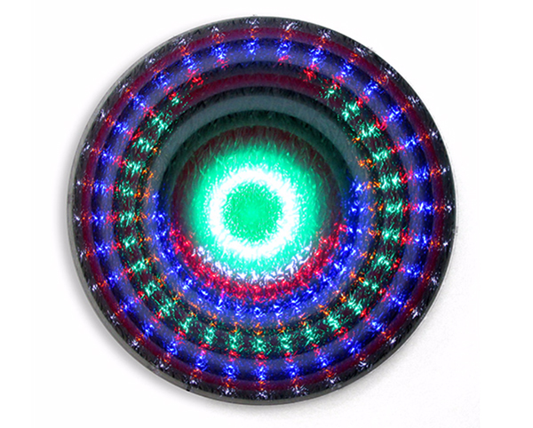 Giles Ryder, MANDALA FOR THE LOST- There is always a trade off with beauty- New Values- lights flash and fade away for her eyes, 2017<br/>animated LED light work, digital print, Perspex with mirror and vinyl patterned 'haze scree', 100 cm diameter