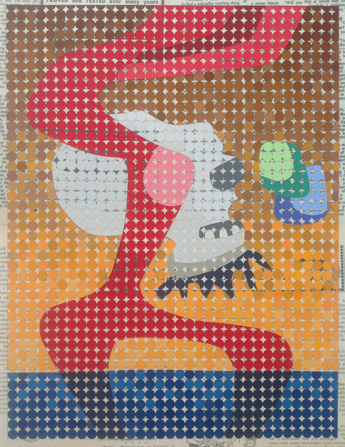 Quiff vs ghotte, 2016<br>Gouache on paper dots on archival paper<br>58 x 48 cm framed