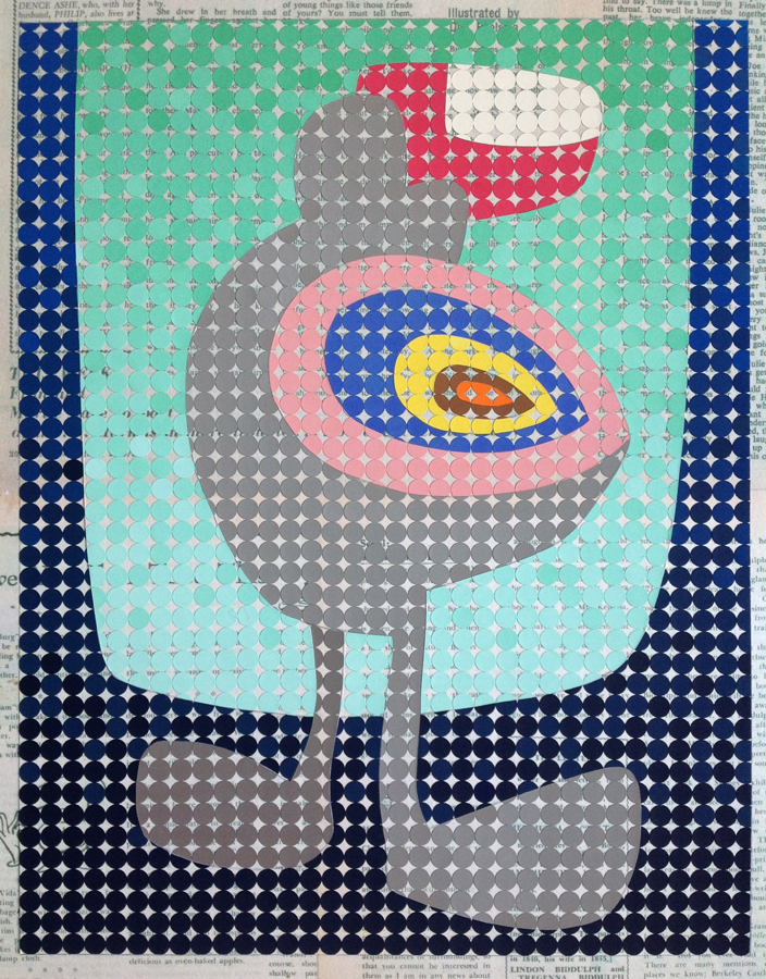 Shmooly, 2016<br>Gouache on paper dots on archival paper<br>58 x 48 cm framed