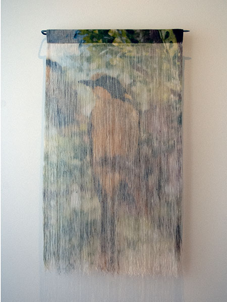 Jane Burns, By a Thread - Helmeted Honeyeater, 2018<br/>Water-based, non-toxic, solvent free pigment ink on linen fabric, linen thread, stainless steel, 76 x 49 x 6 cm