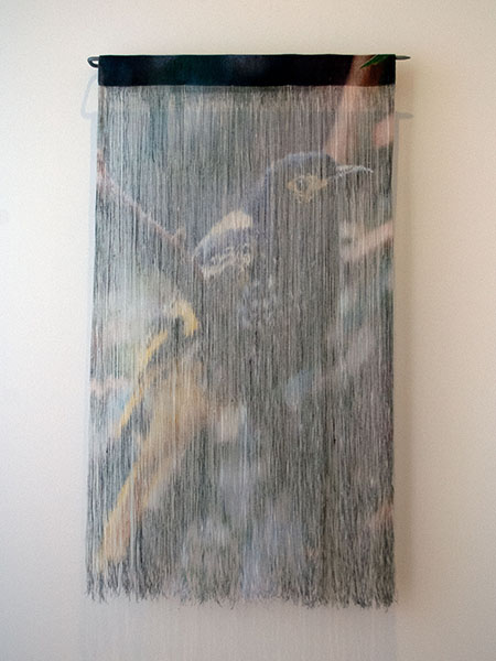Jane Burns, By a Thread - Regent Honeyeater, 2018<br/>Water-based, non-toxic, solvent free pigment ink on linen fabric, linen thread, stainless steel, 76 x 49 x 6 cm
