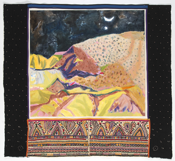 Night Desert Kachchh, 2016<br/>oil on canvas on woven wedding shawl, 150 x 150 cm