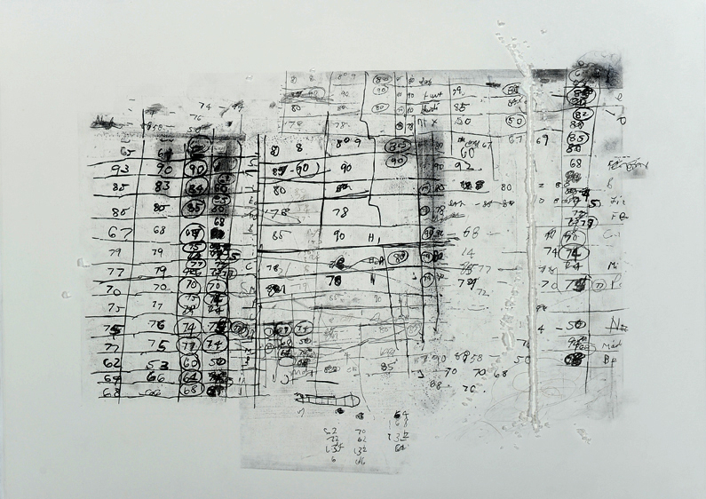 Quarter-things 28, 2013<br>Mixed media on paper<br>71 x 92 cm