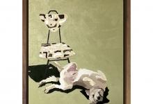 Eliza Goose, Hugo and His Cream Chair, 2019<br>oil on board, 25 x 20 cm