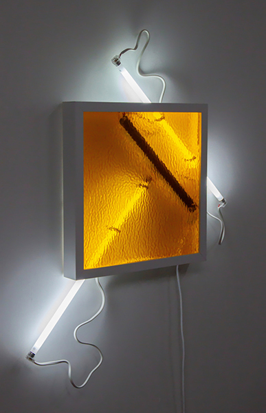 Meagan Streader, Revere, 2019<br/>Ripple Glass, white moulding, Fluorescent lights and electronic components, 70 x 90 x 7 cm (approx)