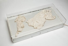 'Centre of my Sinful Earth (large x-ray box)', 2013, porcelain lingerie, x-ray box, perspex case, 25 x 80 x 40 cm (light off)