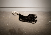 'Centre of my Sinful Earth (small floor piece)', 2013, porcelain and hair, 20 x 80 x 80 cm