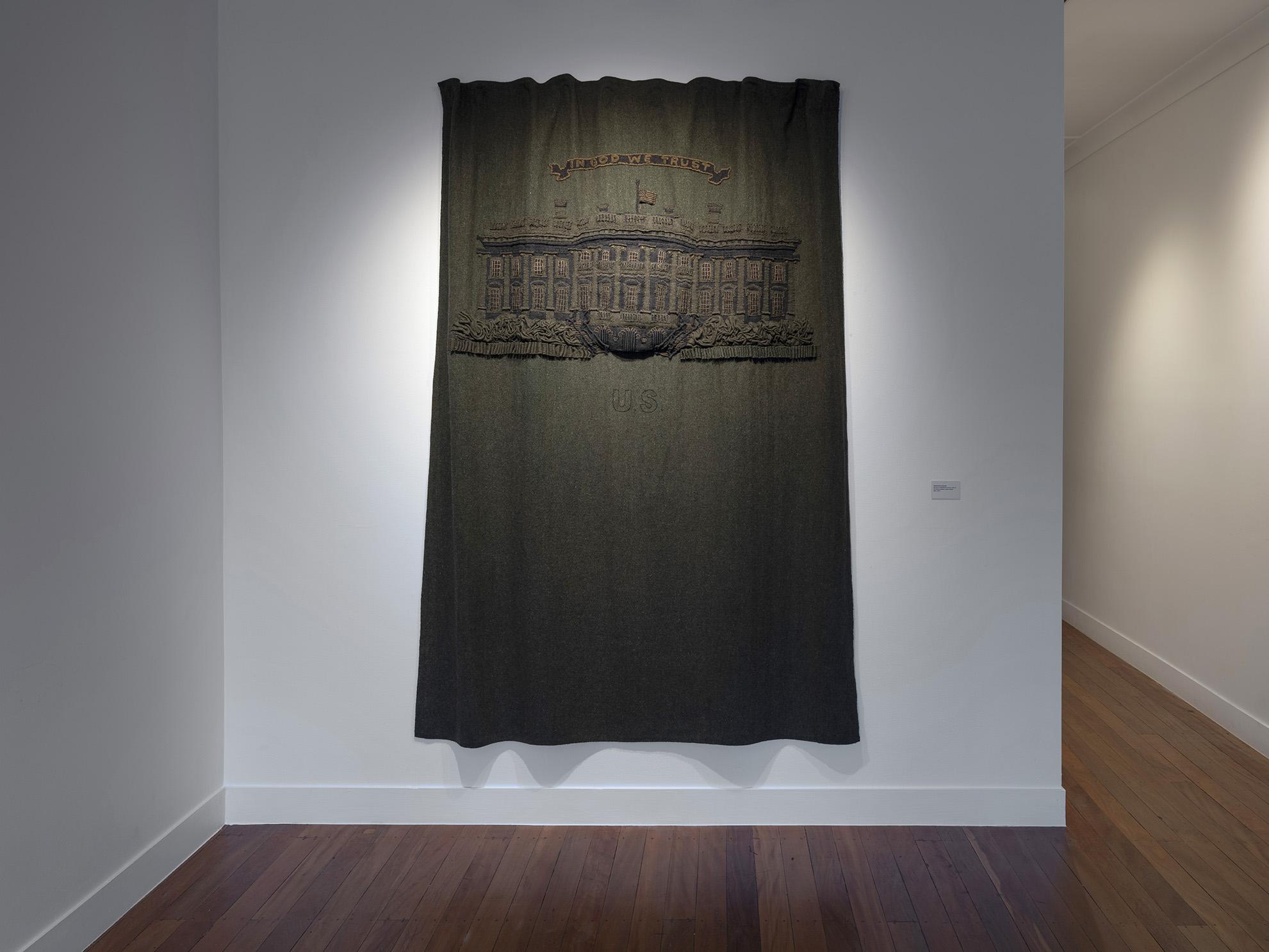 Sebastian Di Mauro, $20 (from GREENBACK series), 2018-19<br/>US military blankets, cotton thread, 163 x 210 cm