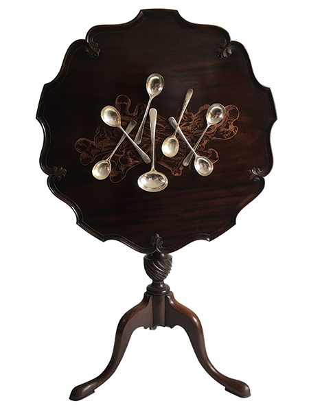 Megan Evans, Bone Orchard, 2018<br/>Victorian antique mahogany tilt top wine table, antique silver soup spoons and ladel, dimensions variable