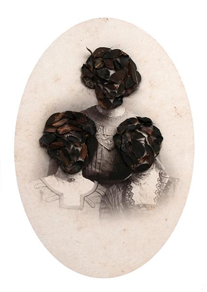 Megan Evans, The Three Graces, 2016<br/>digital print on rag, pins, charcoal eucalyptus leaves, 132 x 95 x 10 cm
