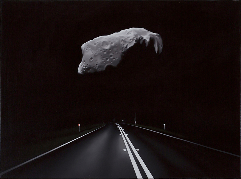 Near earth asteroid and highway(ida ), 2017<br>oil on linen, 45 x 61 cm