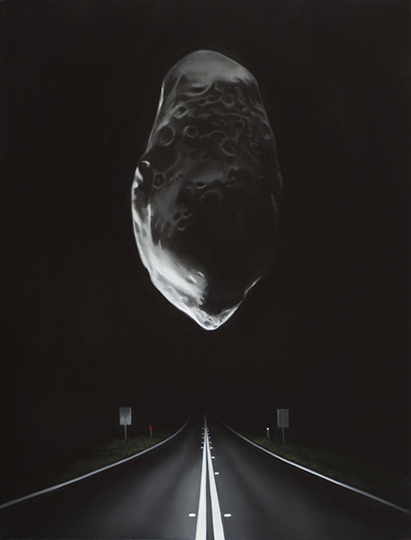 Highway with Asteroid (Prometheus), 2017<br>oil on linen, 40 x 30 cm