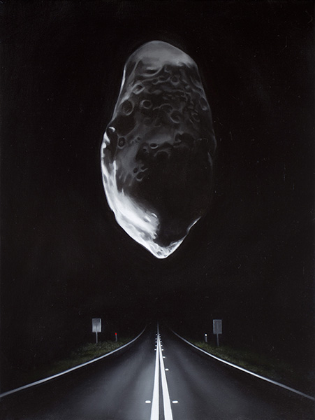 Highway with Asteroid (Prometheus), 2018<br />oil on linen, 40 x 30 cm