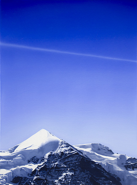 Jungfrau with Contrail, 2018<br />oil on linen, 40 x 30 cm