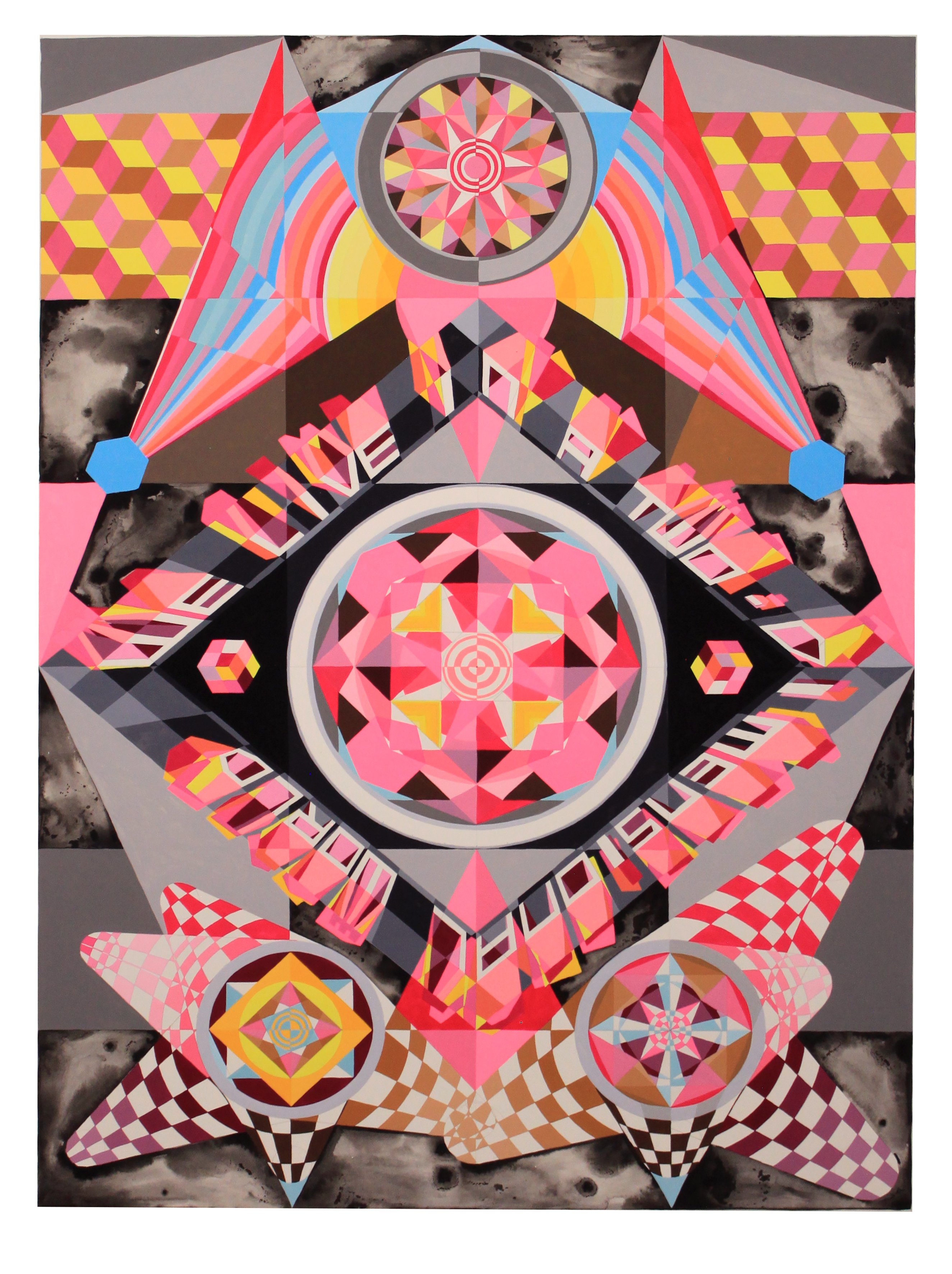 We live in a two dimensional world, 2018<br/>gouache on paper, 112 x 82.5 cm (framed)